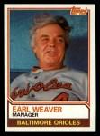 1983 Topps #426  Earl Weaver  Front Thumbnail