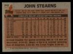 1983 Topps #212  John Stearns  Back Thumbnail
