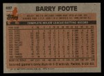 1983 Topps #697  Barry Foote  Back Thumbnail