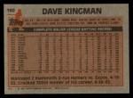 1983 Topps #160  Dave Kingman  Back Thumbnail