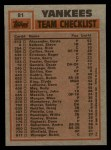 1983 Topps #81   -  Jerry Mumphrey / Dave Righetti Yankees Leaders Back Thumbnail