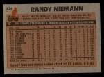 1983 Topps #329  Randy Niemann  Back Thumbnail