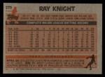 1983 Topps #275  Ray Knight  Back Thumbnail