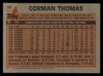 1983 Topps #10  Gorman Thomas  Back Thumbnail