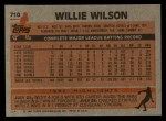 1983 Topps #710  Willie Wilson  Back Thumbnail