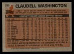 1983 Topps #235  Claudell Washington  Back Thumbnail
