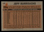 1983 Topps #648  Jeff Burroughs  Back Thumbnail