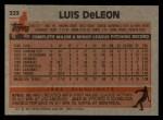 1983 Topps #323  Luis DeLeon  Back Thumbnail