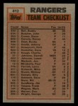 1983 Topps #412   -  Buddy Bell / Charlie Hough Rangers Leaders Back Thumbnail