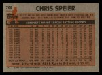 1983 Topps #768  Chris Speier  Back Thumbnail