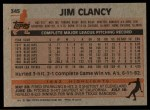 1983 Topps #345  Jim Clancy  Back Thumbnail