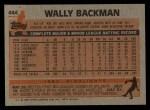 1983 Topps #444  Wally Backman  Back Thumbnail