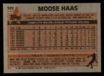 1983 Topps #503  Moose Haas  Back Thumbnail
