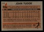 1983 Topps #318  John Tudor  Back Thumbnail