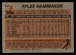 1983 Topps #342  Atlee Hammaker  Back Thumbnail