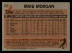 1983 Topps #203  Mike Morgan  Back Thumbnail