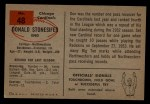 1954 Bowman #48  Don Stonesifer  Back Thumbnail