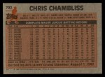 1983 Topps #792  Chris Chambliss  Back Thumbnail