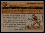 1960 Topps #117   -  Tom Borland Rookie Star Back Thumbnail