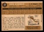 1960 Topps #47  Don Zimmer  Back Thumbnail