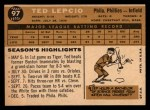 1960 Topps #97  Ted Lepcio  Back Thumbnail
