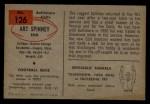 1954 Bowman #126  Art Spinney  Back Thumbnail