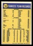 1970 Topps #399   Yankees Team Back Thumbnail