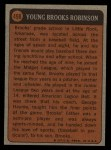 1972 Topps #498   -  Brooks Robinson Boyhood Photo Back Thumbnail