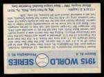 1970 Fleer World Series #12   -  Babe Ruth 1915 Red Sox vs. Phillies   Back Thumbnail