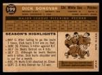 1960 Topps #199  Dick Donovan  Back Thumbnail