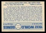 1970 Fleer World Series #29   -  Babe Ruth  / Lou Gehrig 1932 Yankees vs. Cubs   Back Thumbnail