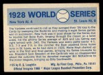 1970 Fleer World Series #25   -  Babe Ruth  / Lou Gehrig 1928 Yankees vs. Cardinals   Back Thumbnail