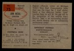 1954 Bowman #75  Jim Neal  Back Thumbnail