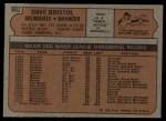 1972 Topps #602  Dave Bristol  Back Thumbnail