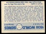 1970 Fleer World Series #35   -  Lou Gehrig 1938 Yankees vs. Cubs   Back Thumbnail