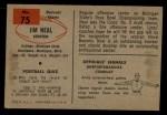 1954 Bowman #75  Jim Neal  Back Thumbnail