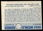 1970 Fleer World Series #31   1934 Cardinals vs. Tigers Back Thumbnail
