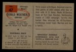 1954 Bowman #47  Gerald Weatherly  Back Thumbnail