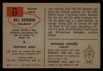 1954 Bowman #17  Bill Bowman  Back Thumbnail