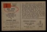 1954 Bowman #5  Bill Stits  Back Thumbnail
