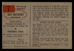 1954 Bowman #1  Ray Mathews  Back Thumbnail