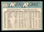 1965 Topps #518  Ken Rowe  Back Thumbnail
