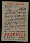 1951 Bowman #144  Herm Wehmeier  Back Thumbnail