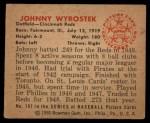 1950 Bowman #197  John Wyrostek  Back Thumbnail