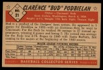 1953 Bowman Black and White #21  Clarence 'Bud' Podbielan  Back Thumbnail
