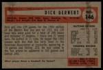 1954 Bowman #146  Dick Gernert  Back Thumbnail