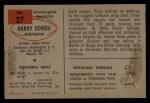 1954 Bowman #27  Harry Dowda  Back Thumbnail