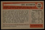 1954 Bowman #131  Joe Astroth  Back Thumbnail
