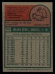 1975 Topps #100  Willie Stargell  Back Thumbnail