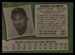1971 Topps #550  Harmon Killebrew  Back Thumbnail
